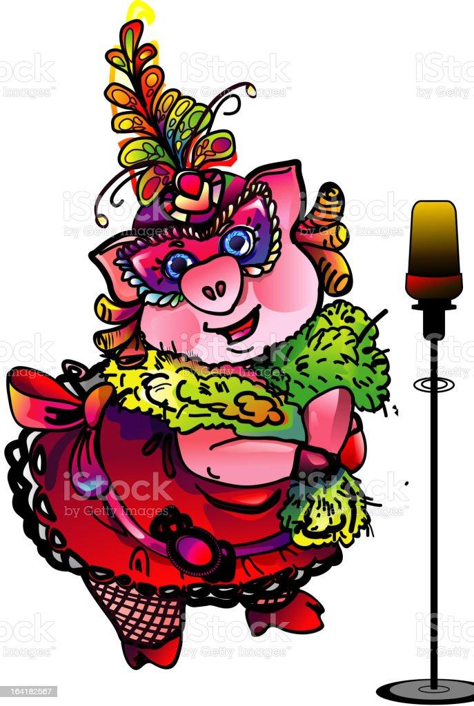Singing pig masquerade royalty-free stock vector art