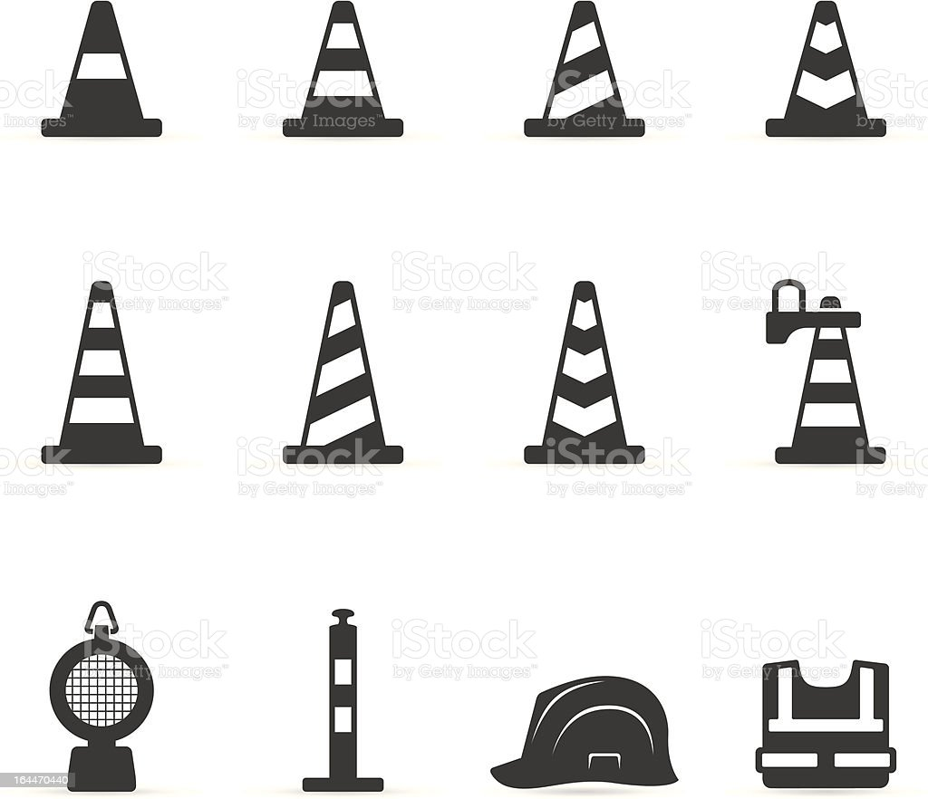 Single Color Icons - Traffic Warning Signs royalty-free stock vector art