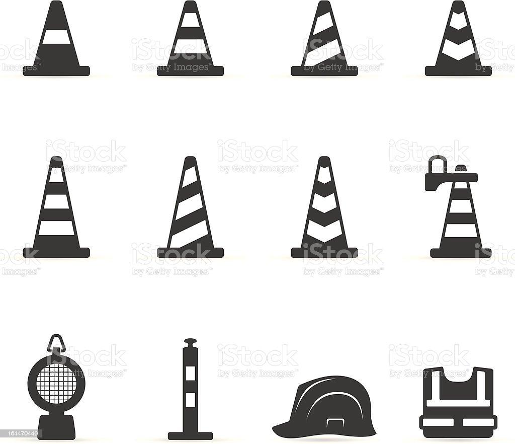 Single Color Icons - Traffic Warning Signs vector art illustration