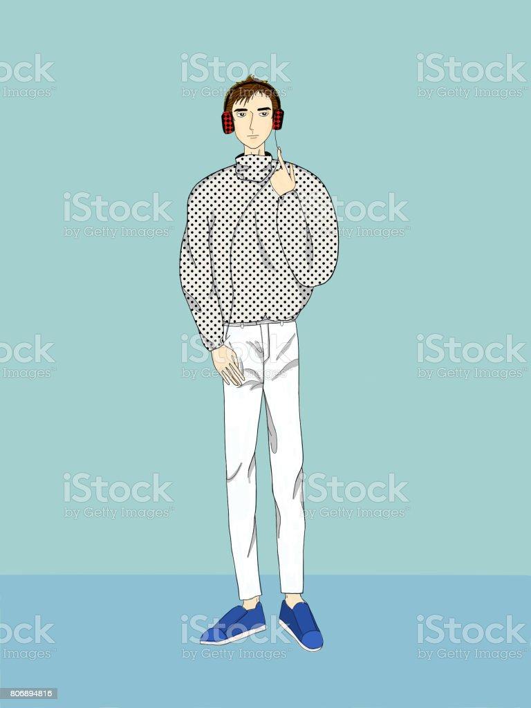 A single man vector art illustration