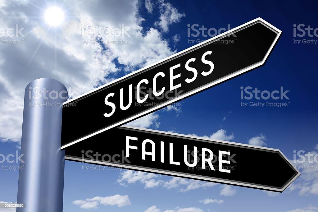 Singpost illustration, two arrows - success or failure vector art illustration