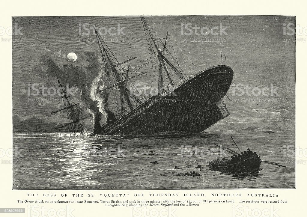 Sinking of the RMS Quetta, 1890 vector art illustration