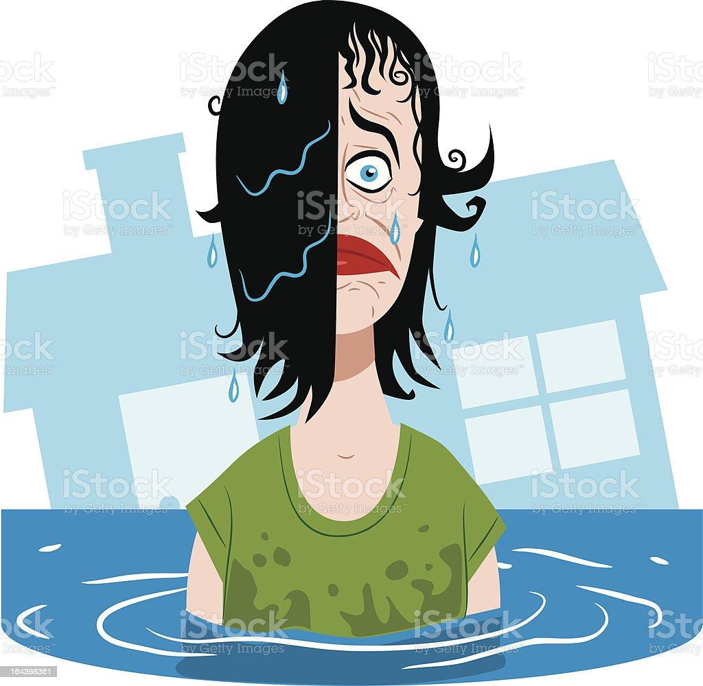 Sinking Woman royalty-free stock vector art