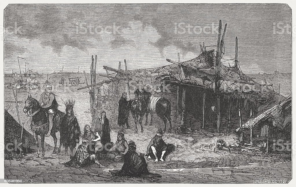 Sioux Camp, Native in North America, wood engraving, published in 1877 vector art illustration