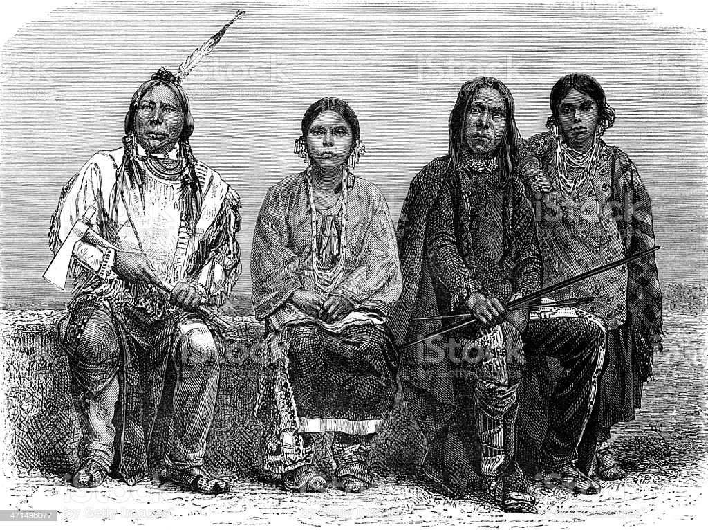 Sioux men and women vector art illustration