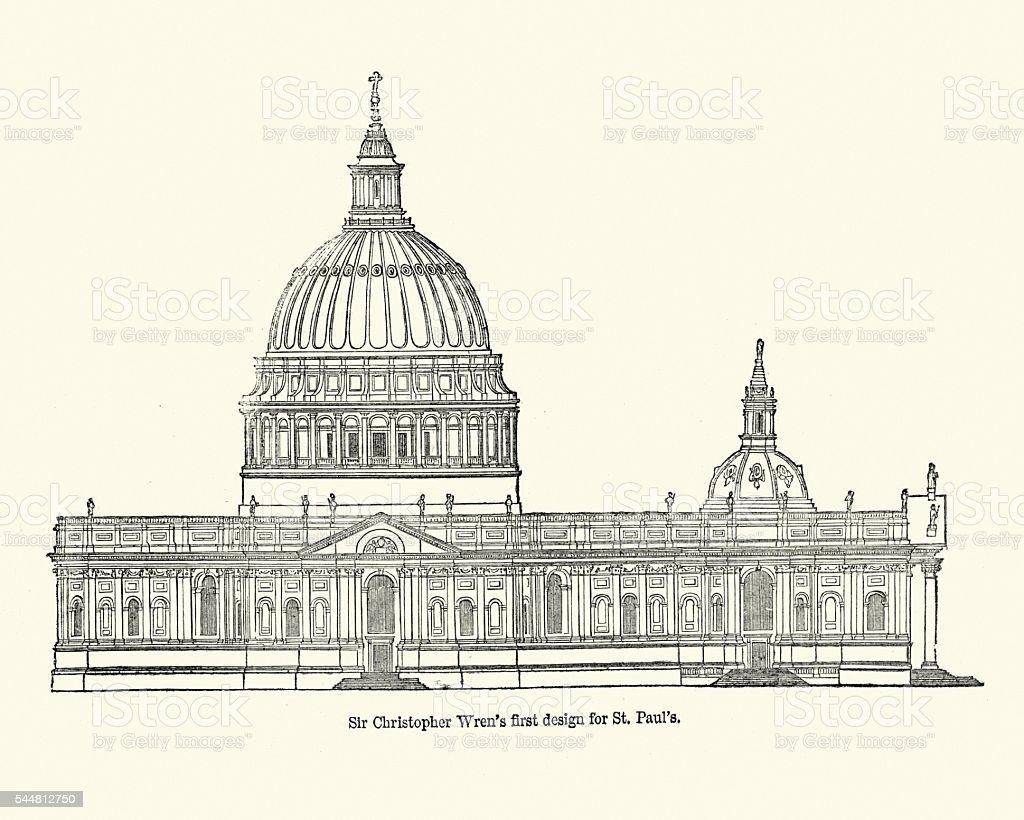 Sir Christopher Wren's first design for St Paul's vector art illustration
