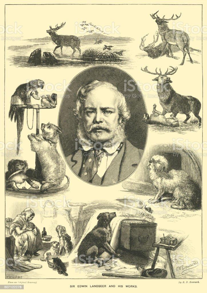 Sir Edwin Landseer and his works vector art illustration