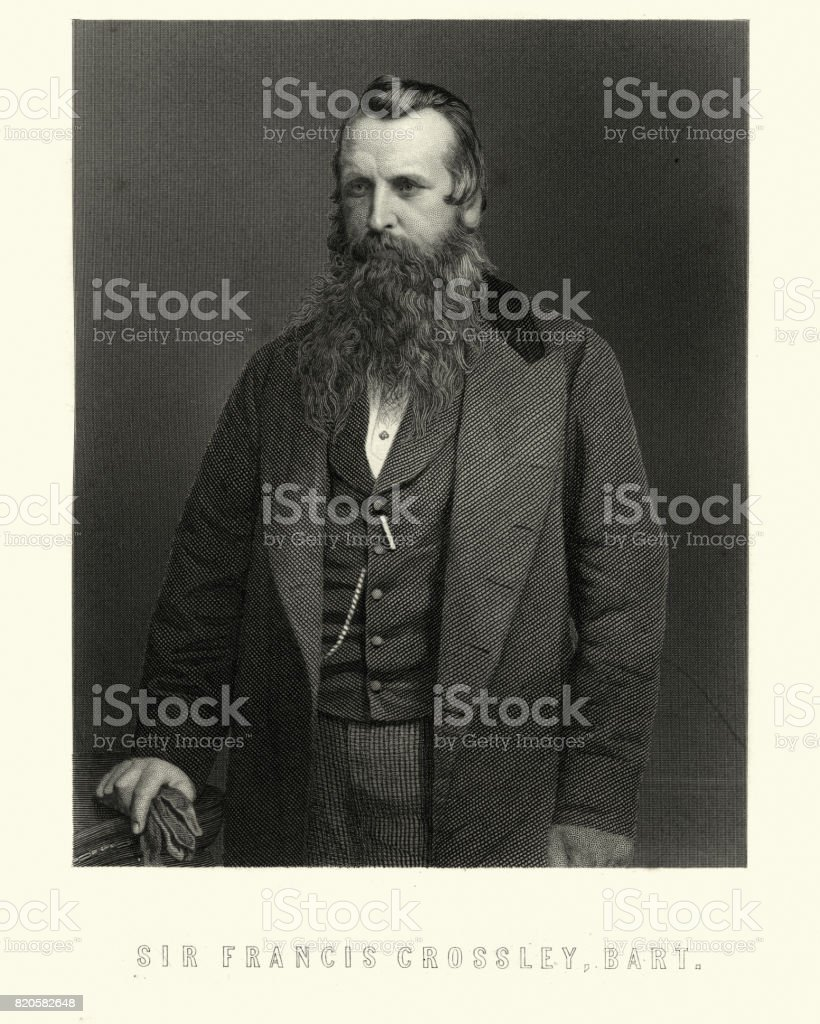 Sir Francis Crossley, 1st Baronet, of Halifax vector art illustration