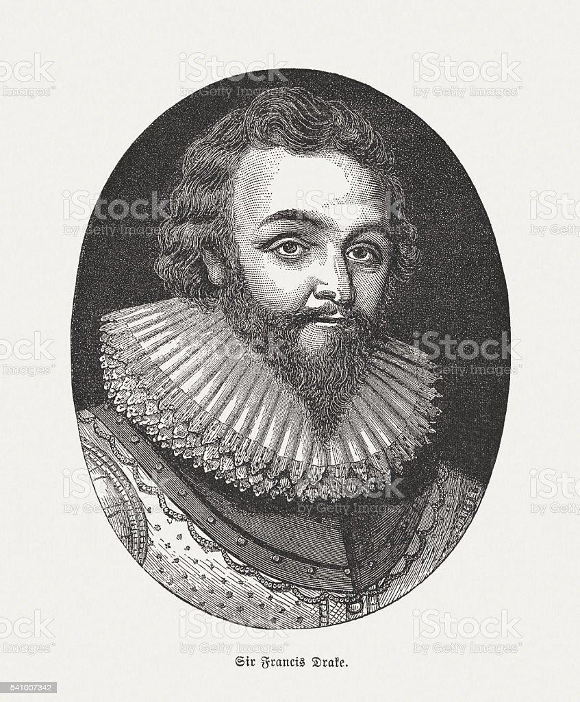 Sir Francis Drake (c.1540-1596), English privateer, wood engraving, published 1884 vector art illustration