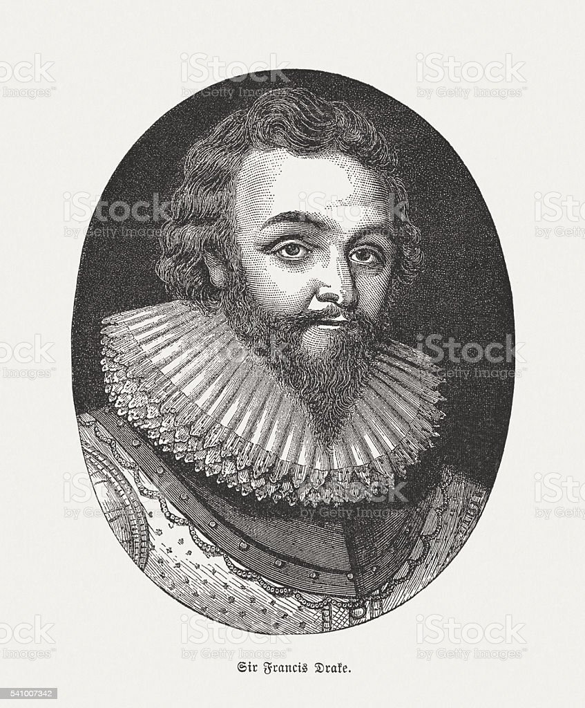 Sir Francis Drake (c.1540-1596), English privateer, wood engraving, published 1884 vector art illustration