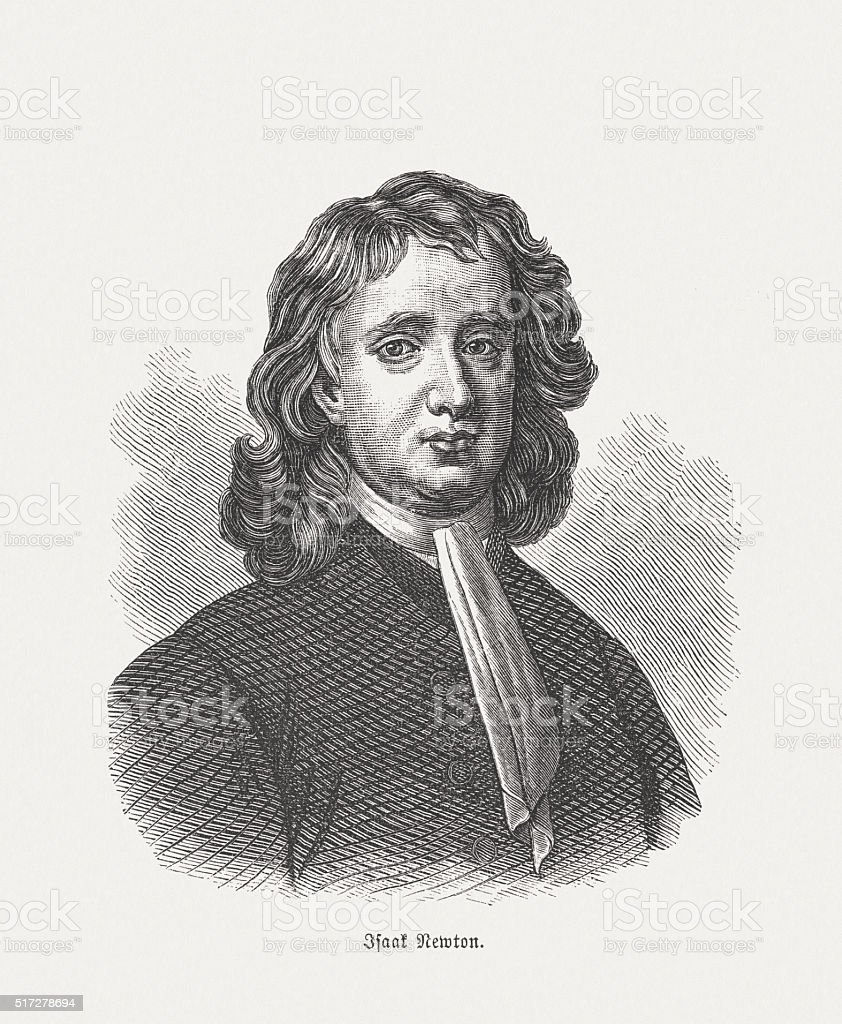 Sir Isaac Newton (1642-1726/27), wood engraving, published in 1880 vector art illustration
