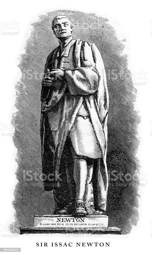 Sir Issac Newton, Cambridgeshire, England Victorian Engraving, 1840 vector art illustration