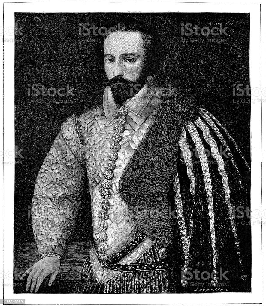 Sir Walter Raleigh royalty-free stock vector art