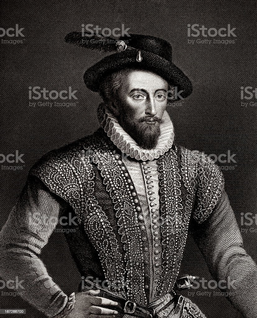 Sir Walter Raleigh,English aristocrat, royalty-free stock vector art