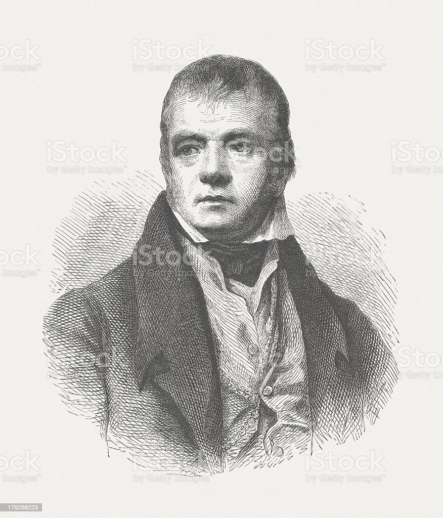 Sir Walter Scott (1771-1832), Scottish poet, wood engraving, published 1882 royalty-free stock vector art