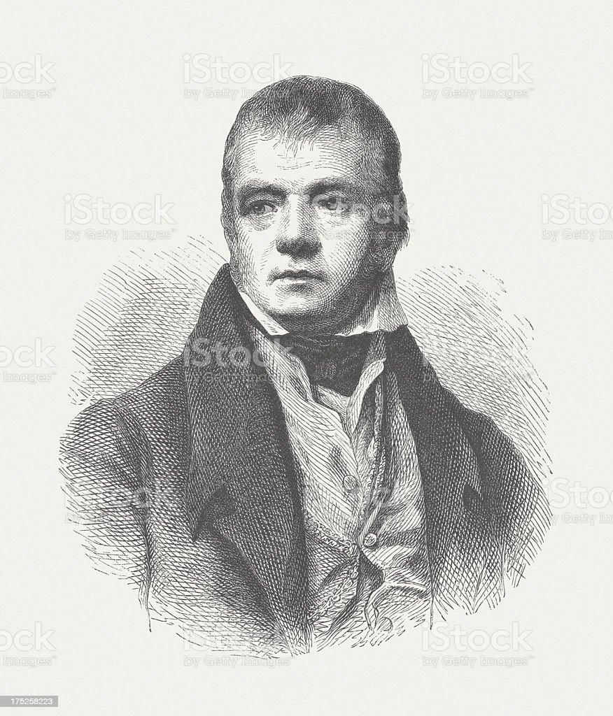 Sir Walter Scott (1771-1832), Scottish poet, wood engraving, published 1882 vector art illustration