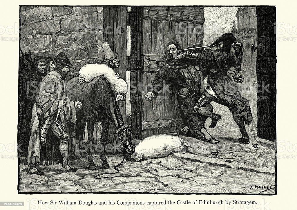 Sir William Douglas capturing Edinburgh Castle by Stratagem vector art illustration