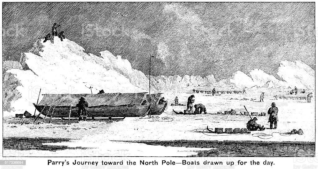 Sir William Parry's expedition to the North Pole vector art illustration