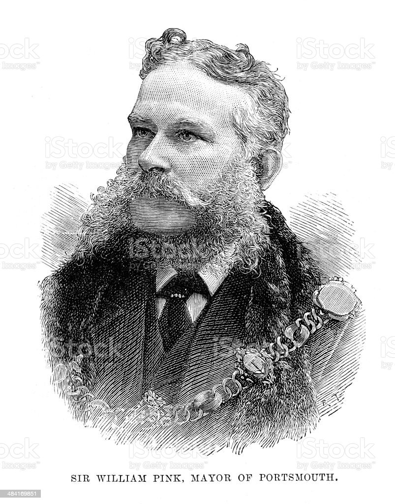 Sir William Pink, Mayor of Portsmouth vector art illustration