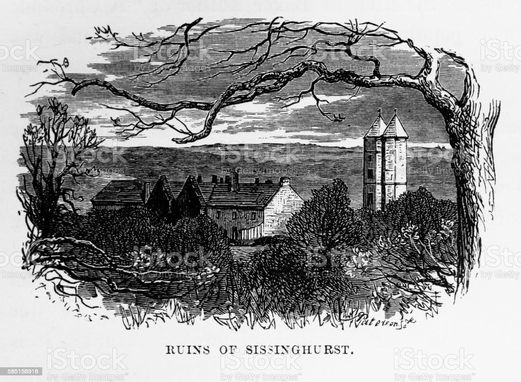 Sissinghurst Ruins, in Kent, England Victorian Engraving, Circa 1840 vector art illustration