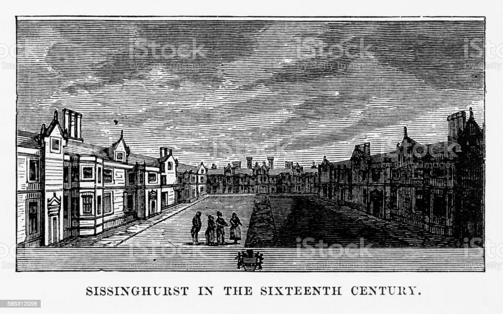 Sissinghurst Village, in Kent, England Victorian Engraving, Circa 1840 vector art illustration