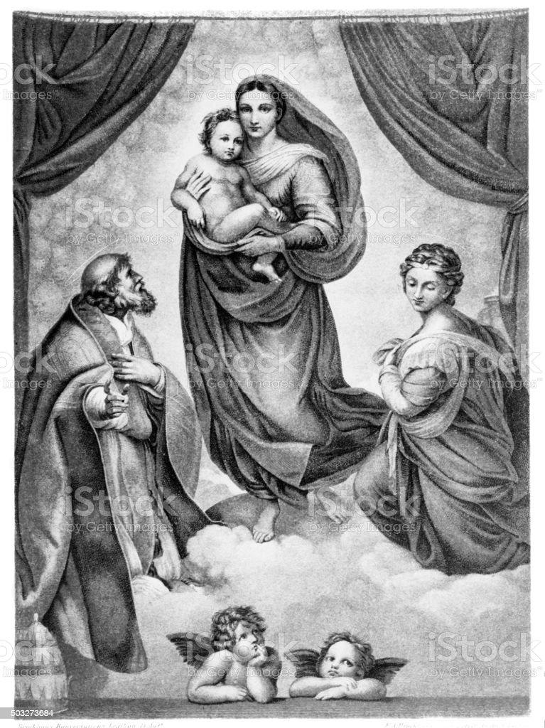 Sistine Madonna vector art illustration