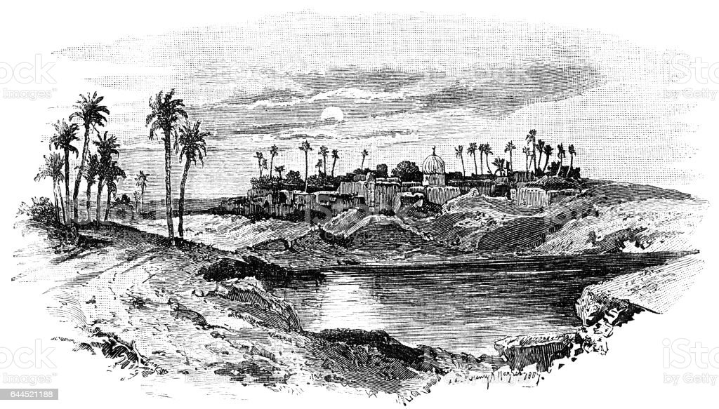 Site of old Memphis, Egypt vector art illustration