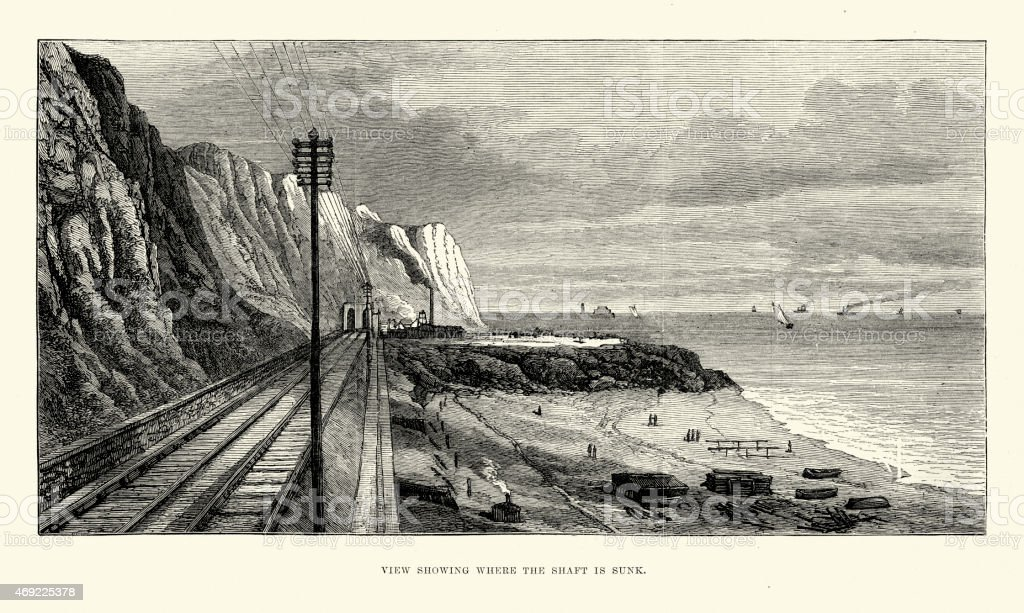 Site of the Channel Tunnel attempt in 1881 vector art illustration