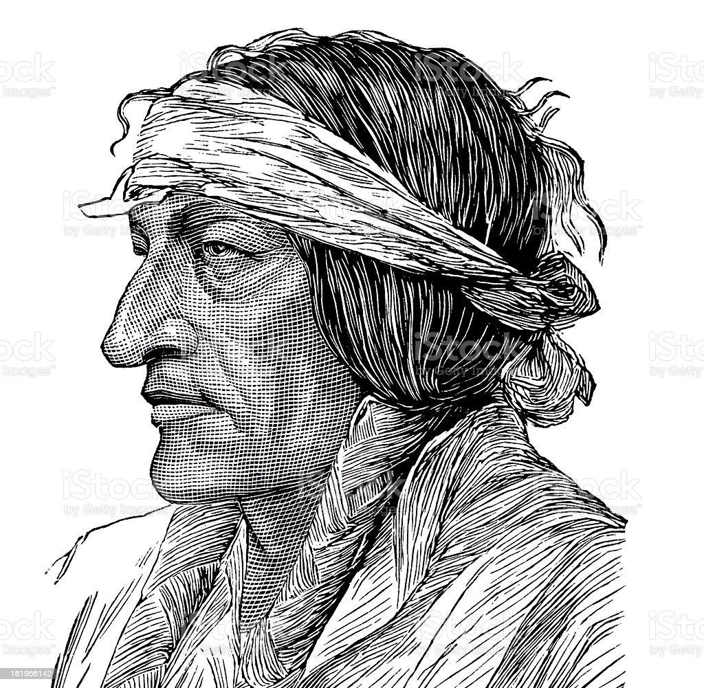 Sitting Bull vector art illustration