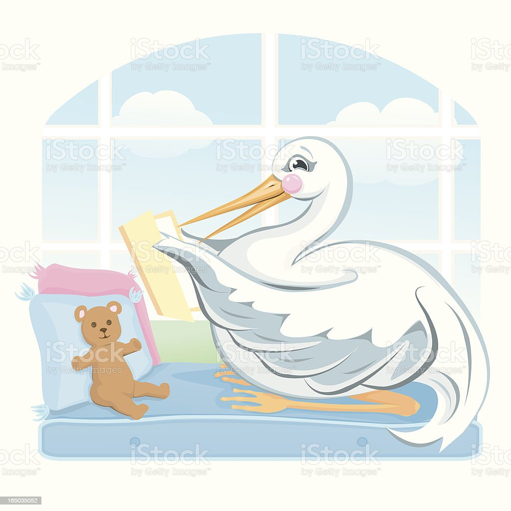 Sitting Stork royalty-free stock vector art