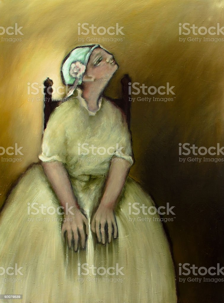 Sitting young woman in white dress, oil painting vector art illustration