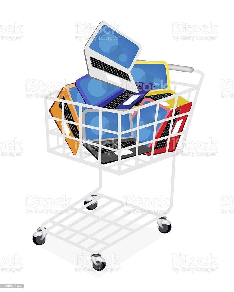Six Colors of Laptop Computer in Shopping Cart vector art illustration