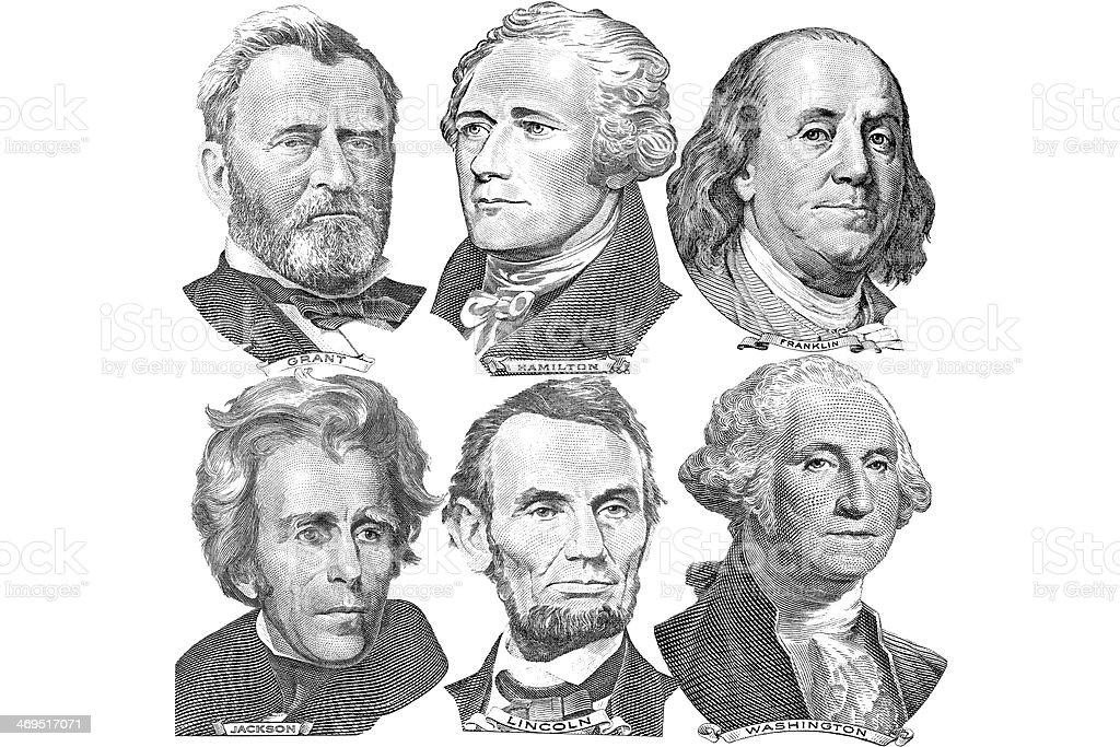 Six presidents with dollar bills vector art illustration