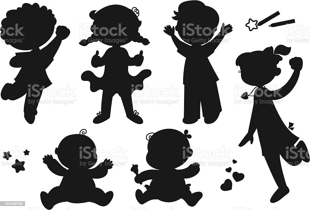 Six silhouettes of happy children vector art illustration