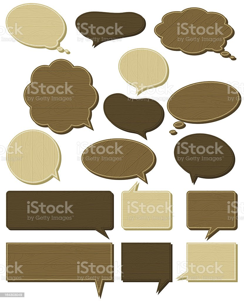 sixteen wooden  labels royalty-free stock vector art