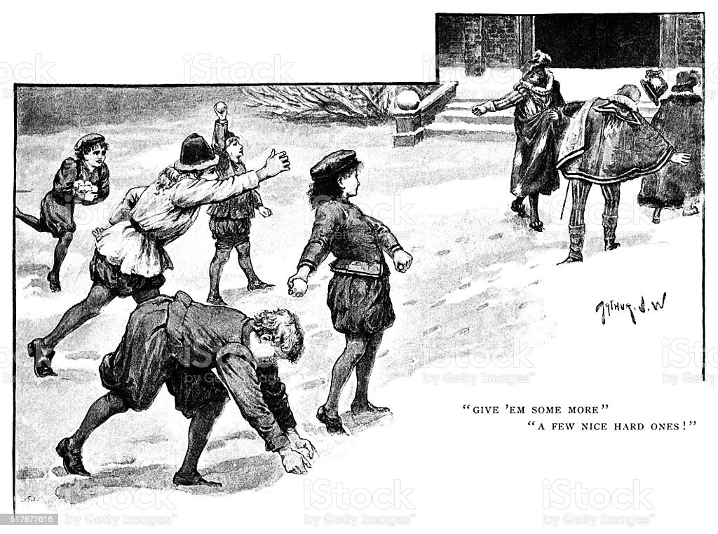 Sixteenth century children throwing snowballs at adults vector art illustration