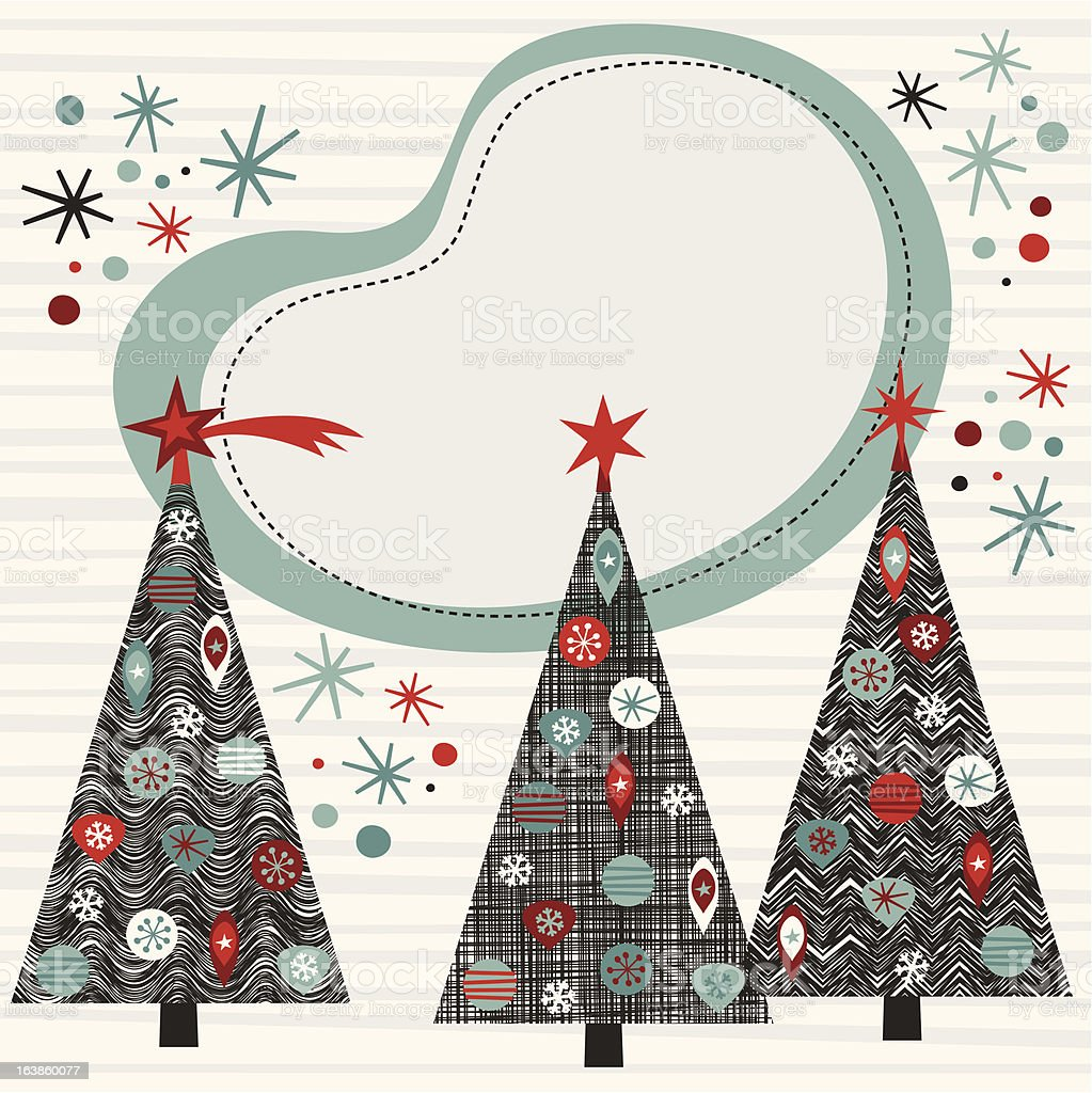 Sixties Christmas tree frame royalty-free stock vector art