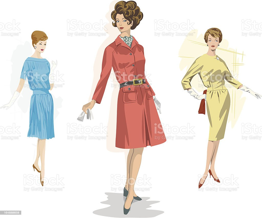 Sixties Fashionistas royalty-free stock vector art
