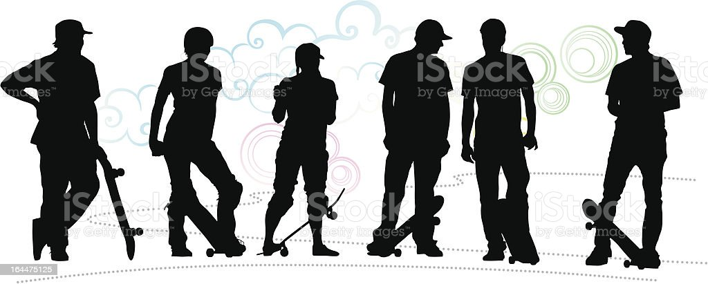 Skate crowd royalty-free stock vector art