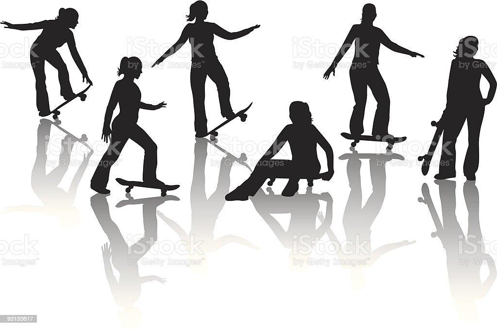 Skater Girl royalty-free stock vector art