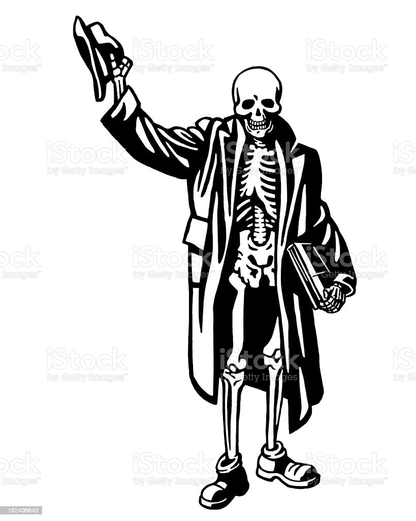 Skeleton With Hat and Coat royalty-free stock vector art