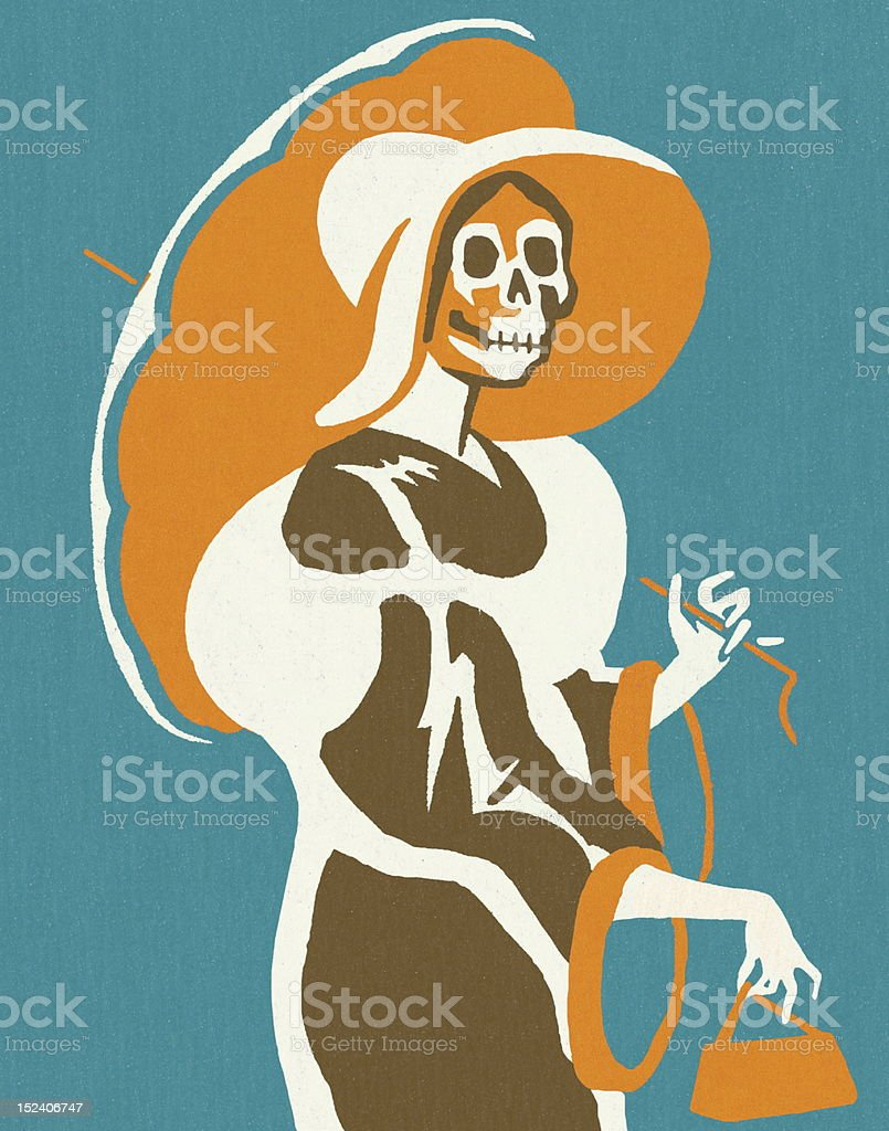 Skeleton Woman With Umbrella vector art illustration