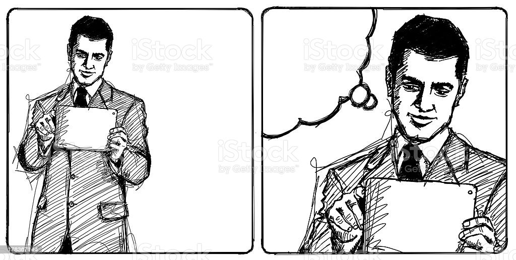 Sketch Businessman With I Pad royalty-free stock vector art