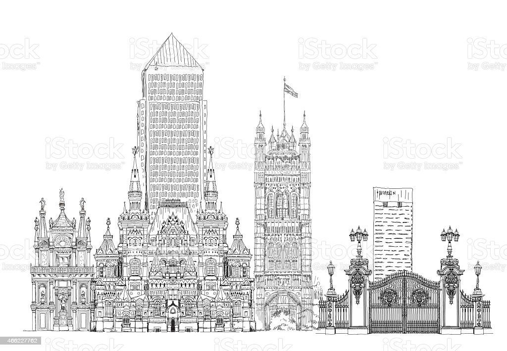Sketch collection of famous buildings vector art illustration