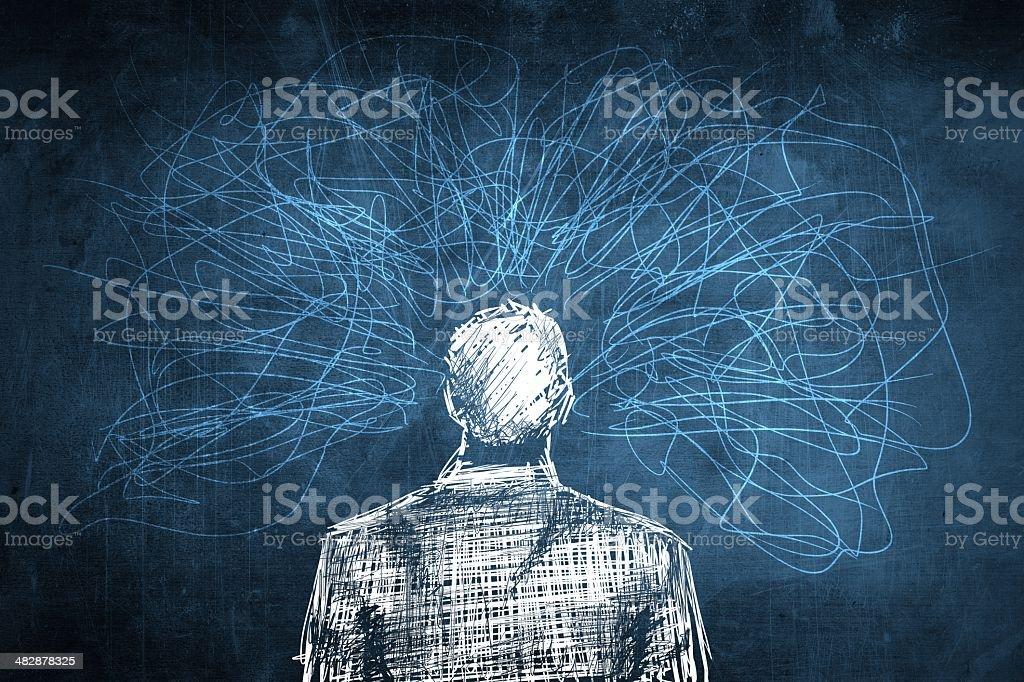 Sketch confused businessman concept, lot of crazy lines vector art illustration