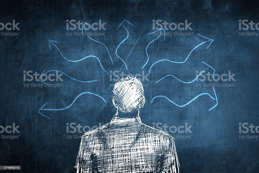 Sketch confused businessman, lot of arrows vector art illustration