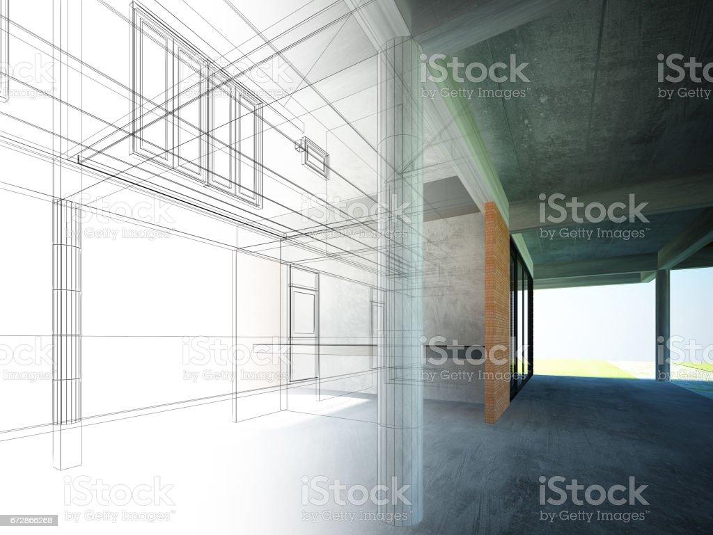 sketch design of interior space ,3d  render vector art illustration