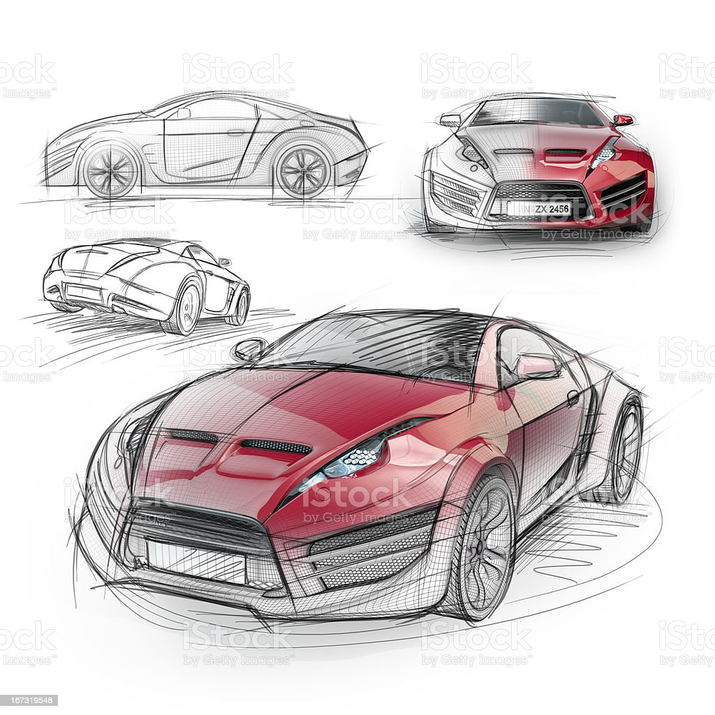 Sketch drawing of a sports car royalty-free stock vector art