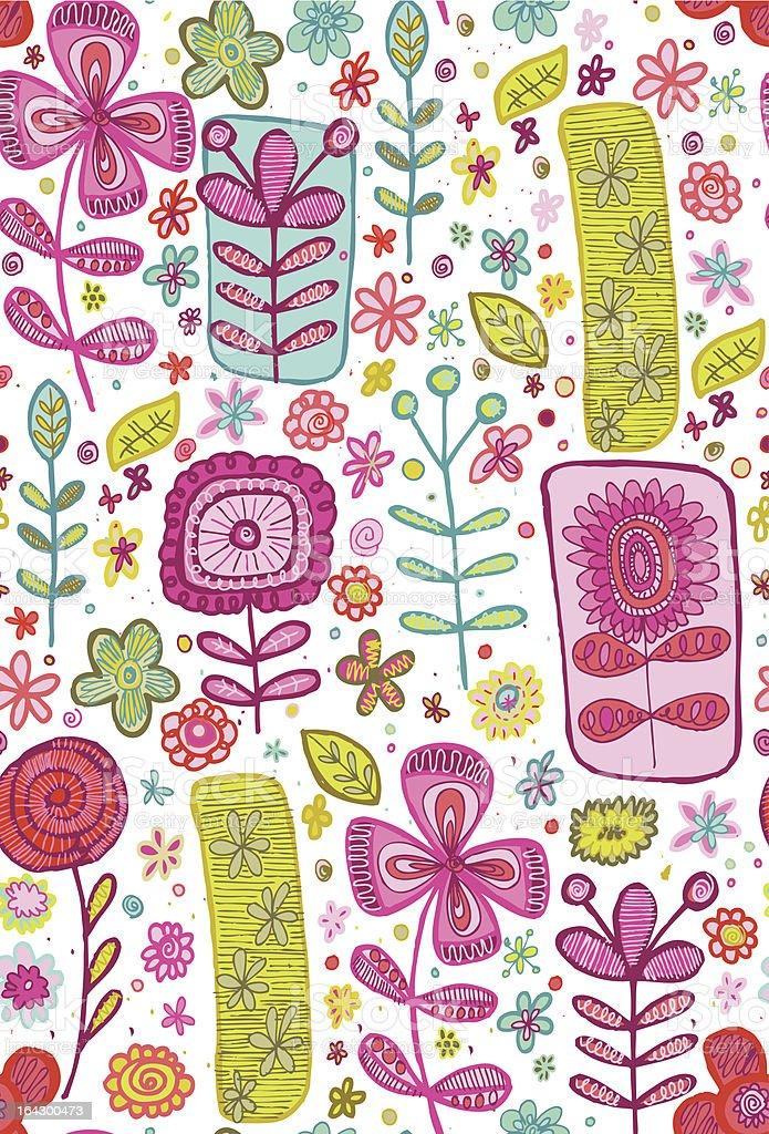Sketch Flowers Seamless Pattern royalty-free stock vector art