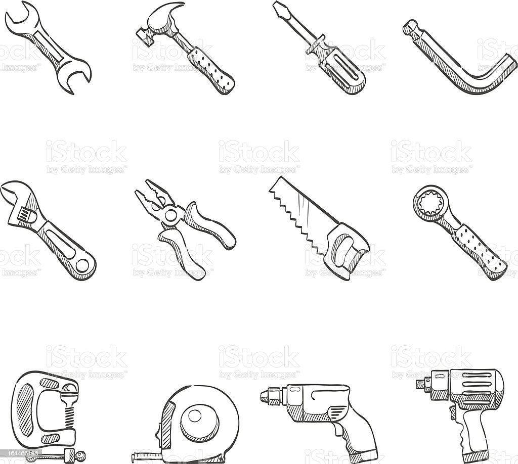 Sketch Icons - Hand Tools vector art illustration
